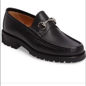 Gucci classic lug sole moccasin horse bit loafer